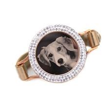 Graveer Armbanden Goudkleurige Leren Armband met foto graveer munt smal rosé goudkleurig met strass