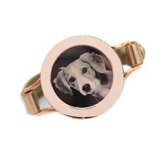 Graveer Armbanden Goudkleurige Leren Armband met foto graveer munt smal rosé goudkleurig