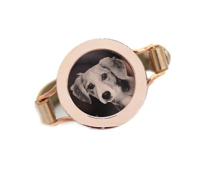 Graveer Armbanden Goudkleurige Leren Armband met foto graveer munt smal rosé goudkleurig - Copy