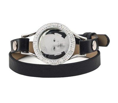 Graveer Armbanden Zwarte dubbele Leren Armband met foto graveer munt smal zilverkleurig met strass