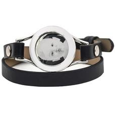 Graveer Armbanden Zwarte dubbele Leren Armband met foto graveer munt smal zilverkleurig