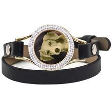 Graveer Armbanden Zwarte dubbele Leren Armband met foto graveer munt smal goudkleurig met strass