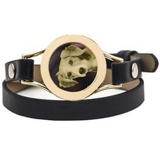 Graveer Armbanden Zwarte dubbele Leren Armband met foto graveer munt smal goudkleurig
