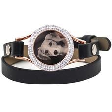 Graveer Armbanden Zwarte dubbele Leren Armband met foto graveer munt smal rosé goudkleurig met strass