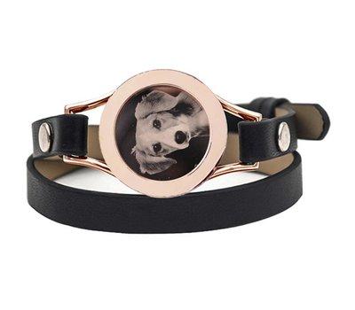 Graveer Armbanden Zwarte dubbele Leren Armband met foto graveer munt smal rosé goudkleurig