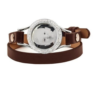 Graveer Armbanden Bruine dubbele Leren Armband met foto graveer munt smal zilverkleurig met strass