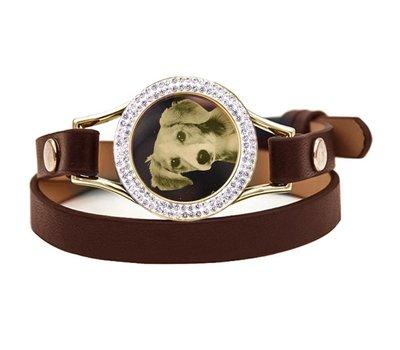 Graveer Armbanden Bruine dubbele Leren Armband met foto graveer munt smal goudkleurig met strass
