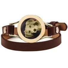 Graveer Armbanden Bruine dubbele Leren Armband met foto graveer munt smal goudkleurig