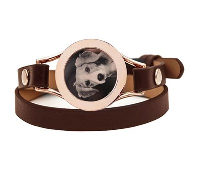 Graveer Armbanden Bruine dubbele Leren Armband met foto graveer munt smal rosé goudkleurig