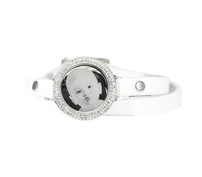 Graveer Armbanden Witte dubbele Leren Armband met foto graveer munt smal zilverkleurig met strass