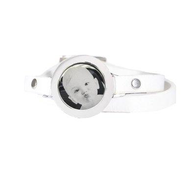 Graveer Armbanden Witte dubbele Leren Armband met foto graveer munt smal zilverkleurig