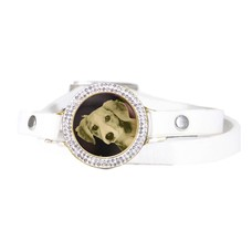 Graveer Armbanden Witte dubbele Leren Armband met foto graveer munt smal goudkleurig met strass