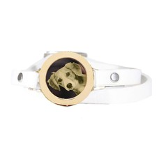 Graveer Armbanden Witte dubbele Leren Armband met foto graveer munt smal goudkleurig