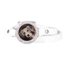 Graveer Armbanden Witte dubbele Leren Armband met foto graveer munt smal rosé goudkleurig met strass