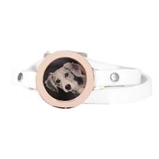 Graveer Armbanden Witte dubbele Leren Armband met foto graveer munt smal rosé goudkleurig
