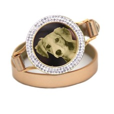 Graveer Armbanden Goudkleurige dubbele Leren Armband met foto graveer munt smal goudkleurig met strass