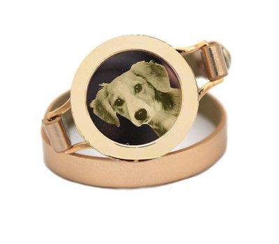 Graveer Armbanden Goudkleurige dubbele Leren Armband met foto graveer munt smal goudkleurig