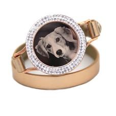Graveer Armbanden Goudkleurige dubbele Leren Armband met foto graveer munt smal rosé goudkleurig met strass
