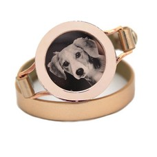 Graveer Armbanden Goudkleurige dubbele Leren Armband met foto graveer munt smal rosé goudkleurig