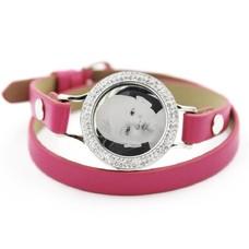 Graveer Armbanden Roze dubbele Leren Armband met foto graveer munt smal zilverkleurig met strass