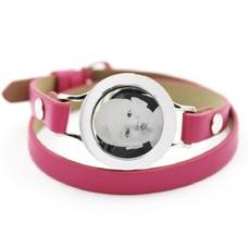 Graveer Armbanden Roze dubbele Leren Armband met foto graveer munt smal zilverkleurig