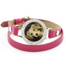 Graveer Armbanden Roze dubbele Leren Armband met foto graveer munt smal goudkleurig met strass