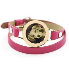 Graveer Armbanden Roze dubbele Leren Armband met foto graveer munt smal goudkleurig