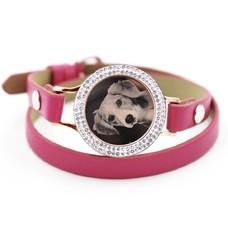 Graveer Armbanden Roze dubbele Leren Armband met foto graveer munt smal rosé goudkleurig met strass