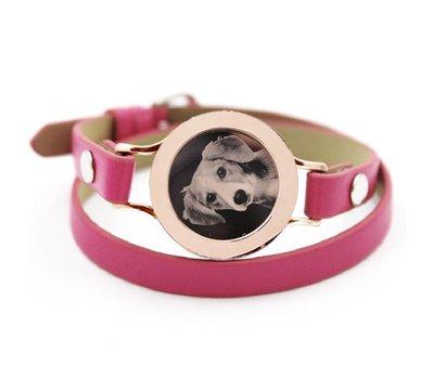 Graveer Armbanden Roze dubbele Leren Armband met foto graveer munt smal rosé goudkleurig