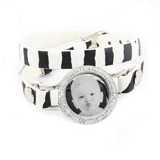 Graveer Armbanden Zebra dubbele Leren Armband met foto graveer munt smal zilverkleurig met strass