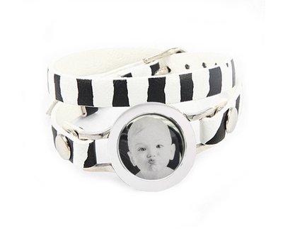 Graveer Armbanden Zebra dubbele Leren Armband met foto graveer munt smal zilverkleurig