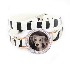 Graveer Armbanden Zebra dubbele Leren Armband met foto graveer munt smal rosé goudkleurig met strass