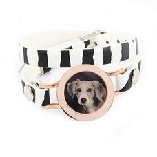 Graveer Armbanden Zebra dubbele Leren Armband met foto graveer munt smal rosé goudkleurig