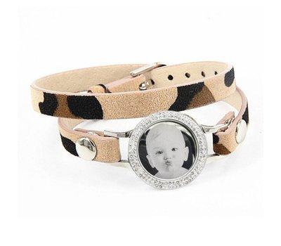 Graveer Armbanden Luipaard dubbele Leren Armband met foto graveer munt smal zilverkleurig met strass
