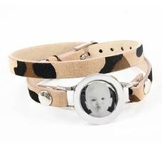 Graveer Armbanden Luipaard dubbele Leren Armband met foto graveer munt smal zilverkleurig