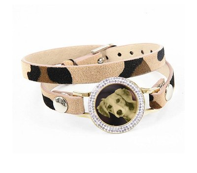 Graveer Armbanden Luipaard dubbele Leren Armband met foto graveer munt smal goudkleurig met strass