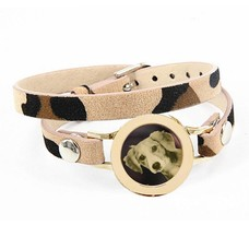 Graveer Armbanden Luipaard dubbele Leren Armband met foto graveer munt smal goudkleurig
