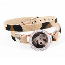 Graveer Armbanden Luipaard dubbele Leren Armband met foto graveer munt smal rosé goudkleurig met strass