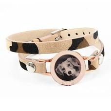 Graveer Armbanden Luipaard dubbele Leren Armband met foto graveer munt smal rosé goudkleurig