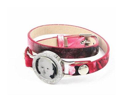 Graveer Armbanden Roze Tropical dubbele Leren Armband met foto graveer munt smal zilverkleurig met strass