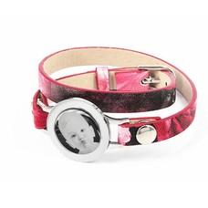 Graveer Armbanden Roze Tropical dubbele Leren Armband met foto graveer munt smal zilverkleurig