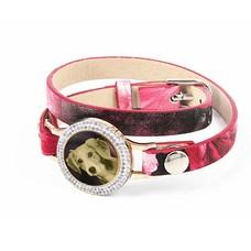 Graveer Armbanden Roze Tropical dubbele Leren Armband met foto graveer munt smal goudkleurig met strass