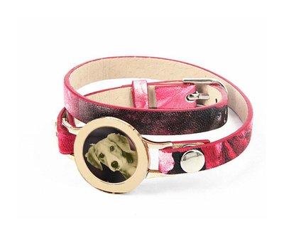 Graveer Armbanden Roze Tropical dubbele Leren Armband met foto graveer munt smal goudkleurig
