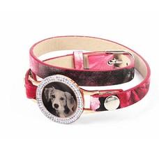 Graveer Armbanden Roze Tropical dubbele Leren Armband met foto graveer munt smal rosé goudkleurig met strass