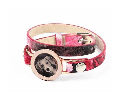 Graveer Armbanden Roze Tropical dubbele Leren Armband met foto graveer munt smal rosé goudkleurig