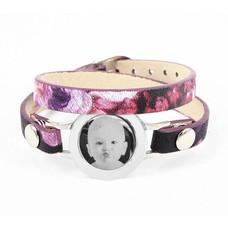 Graveer Armbanden Paars Tropical dubbele Leren Armband met foto graveer munt smal zilverkleurig