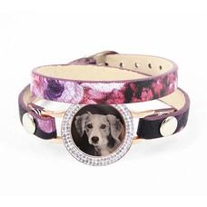 Graveer Armbanden Paars Tropical dubbele Leren Armband met foto graveer munt smal rosé goudkleurig met strass