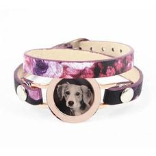Graveer Armbanden Paars Tropical dubbele Leren Armband met foto graveer munt smal rosé goudkleurig