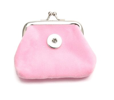 Clicks Sieraden Knip portemonnee fluweel licht roze