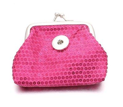 Clicks Sieraden Knip portemonnee pailletten donker roze